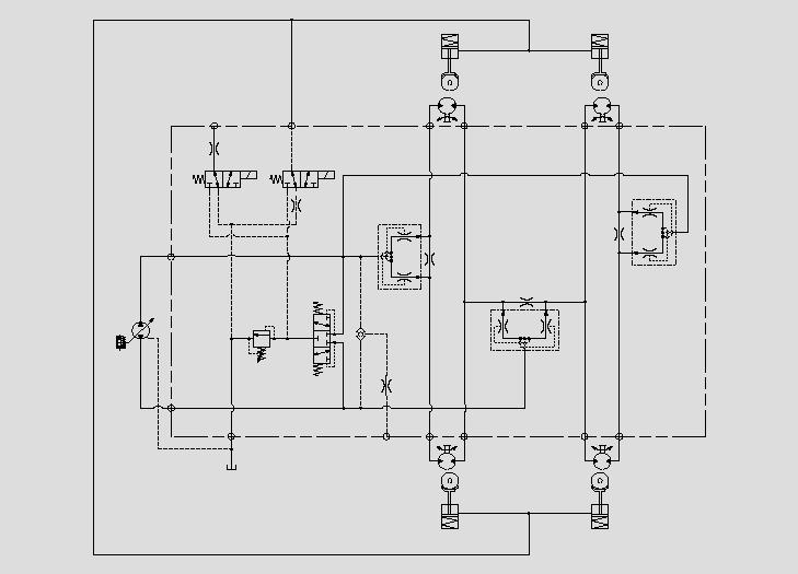此原理图为运用电磁阀、阻尼和压力阀控制制动器的动作速度、压力和启停。