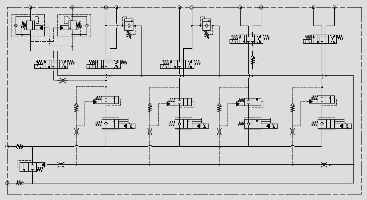 此原理图将逻辑阀用作压力补偿器置于阀节流口后以控制阀节流口前后压差,达到稳定并合理有效分配流量的目的,应用于高空作业车主功能控制。