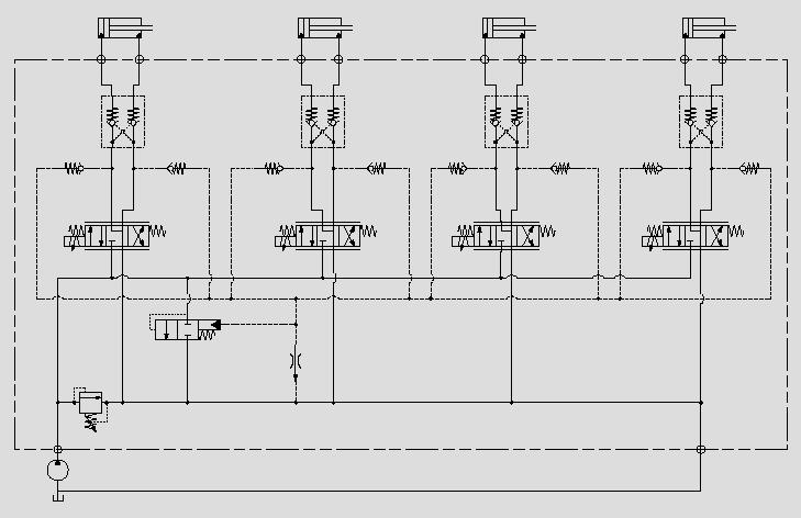 此原理图应用于定量泵控系统中可变节流口前后压差的控制。