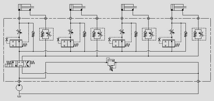 此原理图可通过控制节流口前后压差从而稳定油缸速度。