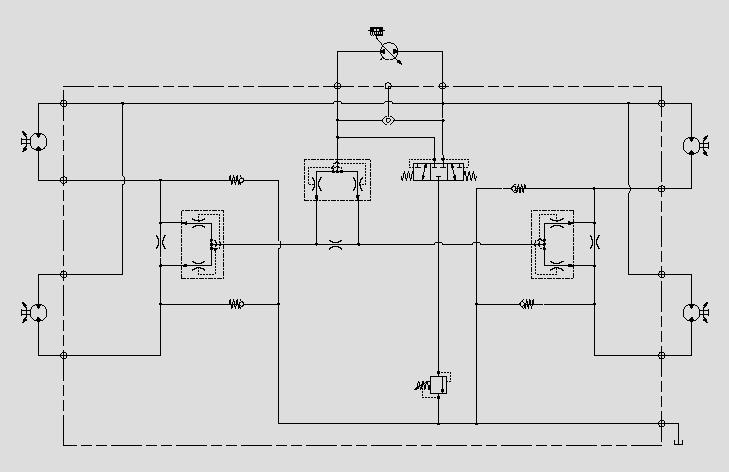 此原理图为通过分流集流阀对马达实现同步控制。