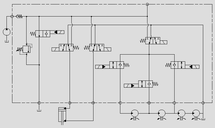 此原理图应用于系统卸荷溢流压力控制。