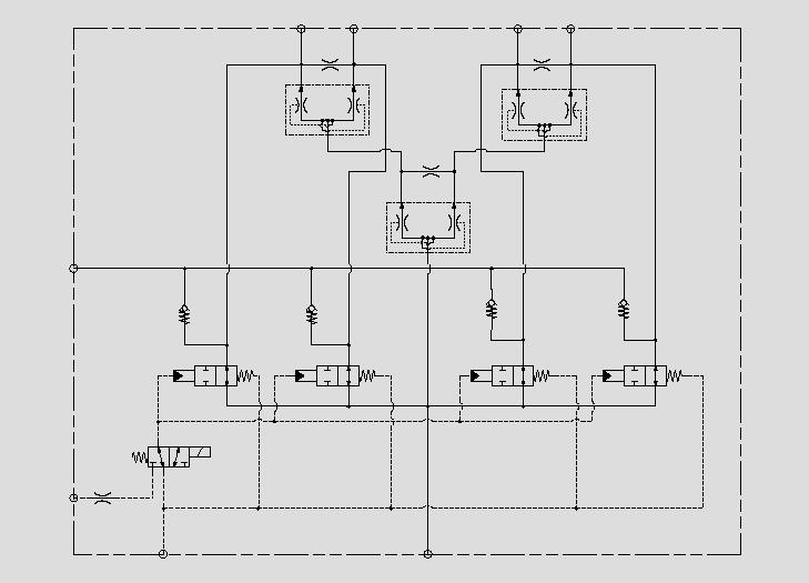 此原理图为通过分流集流阀和节流孔的组合实现对马达的同步和差速控制。