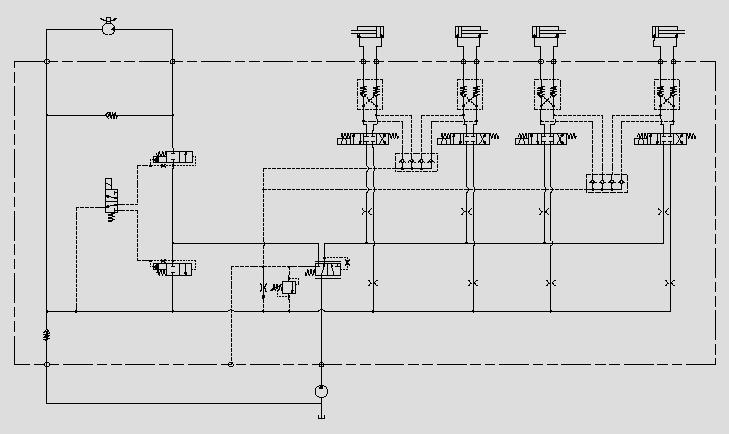 此原理图为运用优先阀、压力阀、液压锁电磁阀控制属具油缸的压力、优先动作、运动方向和负载保持。