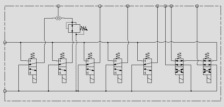 此原理图为电磁阀实现远程先导油路的通断。