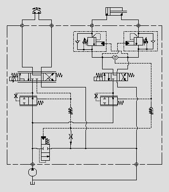 此原理图应用于工作斗回转油缸及调平油缸的控制。