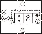 原理图为太阳液压的外泄关闭型可调泄油压力常开锥阀式逻辑阀,型号为:DODP, DOFP, DOHP, DOJP。