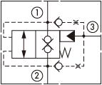 原理图为海德福斯的外泄开启型带两内嵌式单向阀的常闭锥阀式逻辑阀,型号为:EP20-S39, HEP42-S39。